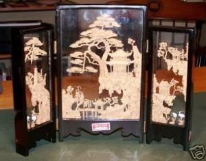 Framed Chinese Cork Carvings.