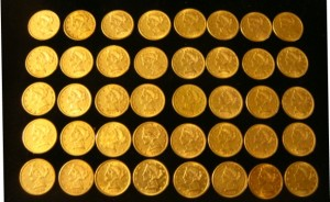 The sale will feature more than 60 U.S. gold coins, like these, plus an impressive stamp collection.