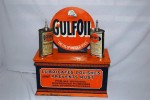 "Rare Gulf Oil (""the Oil of Untold Uses"") counter-top metal display ($4,070)."