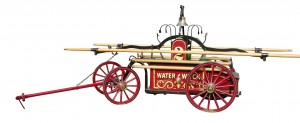 This beautifully restored Hunneman hand-drawn hand tub-fire pumper, 1854, may sell for $30,000-$40,000.