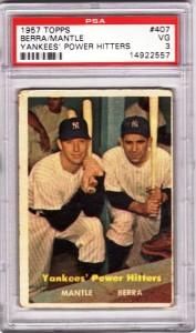 1957 Topps Mantle/Berra #407 Power Hitters card.