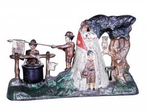 This cast-iron Boy Scout Camp mechanical bank, with 90 percent of its original paint intact, may realize $1,000-$3,500.