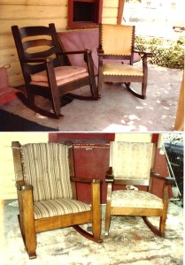 Refinishing certainly enhanced both the appearance and the current market value of these two generic Mission style chairs from the early 20th century.