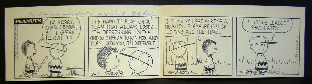"""One of two original daily """"Peanuts"""" strips by Charles Schulz from 1952 and 1962 made $18,080 each."""