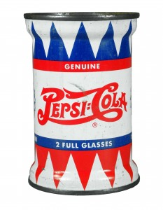 This Pepsi-Cola spool-shaped soda can, very rare and in excellent condition (est. $2,000-$3,000), is among the items up for auction on April 9-11.