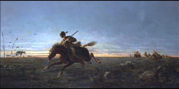 "Pony Express"" by Jules Émile Saintin."