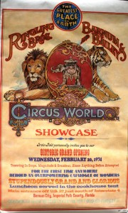 When Ringling Bros. and Barnum & Bailey Circus World Showcase opened in 1974, two poster invitations were mailed. This poster invited media and VIPs on February 20 for a preview and a free meal. In a newspaper interview, Irvin Feld said 600 were invited to attend this preview.