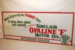 """Sinclair Opaline Motor Oil (""""Made Expressly for Ford Cars"""") porcelain sign ($3,630)."""