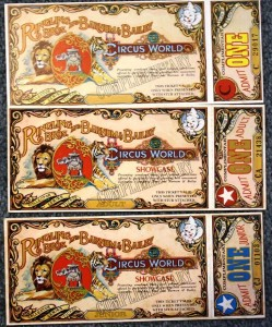 "Tickets were designed to be collectible. In fact the words ""Collector Series Ticket"" were printed on the large portion of the ticket which was retained by the attendee. These are three different types of tickets to Ringling Bros. and Barnum & Bailey Circus World Showcase. One is marked ""C."" The other two are marked Junior and Adult. These tickets with stubs sell for about $5 each."