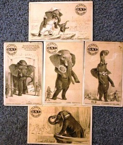 Many advertisers took advantage of the Jumbo craze and used his image in their trade cards. This set above shows five trade cards advertising Clark O.N.T. Cotton Thread. Jumbo trade cards are available for as little as $5-$10.