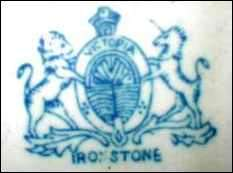 A fake Ironstone mark, which usually does not include the name of the manufacturer.