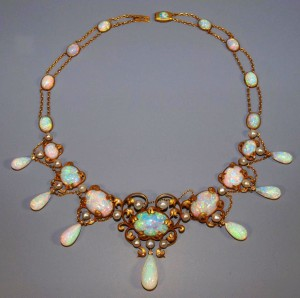 This circa-1900 Art Nouveau necklace, reputed to have once belonged to iconic American interior designer Elsie de Wolfe (a.k.a. Lady Mendl, 1865-1950), comprised of more than 45 carats of cabochon, oval-cut and teardrop-shape Australian fire opals, 23 in all, and includes 19 freshwater pearls and 52 single-cut diamonds, will be among the items up for auction at an April 18, 2010 event hosted by Austin Auction Gallery. It's estimate value is $60,000-$80,000.