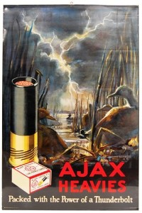 A 1926 U.S. Cartridge Company Ajax Heavies poster in near-mint condition gaveled down for $4,418.