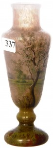 """This extremely rare signed Daum Nancy """"Spring Season"""" cameo pedestal vase, brought $4,300."""