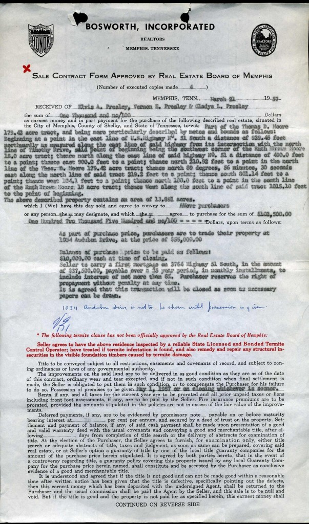 The first of the original two-page contract to purchase Graceland in 1957 – signed by Elvis Presley and his parents.
