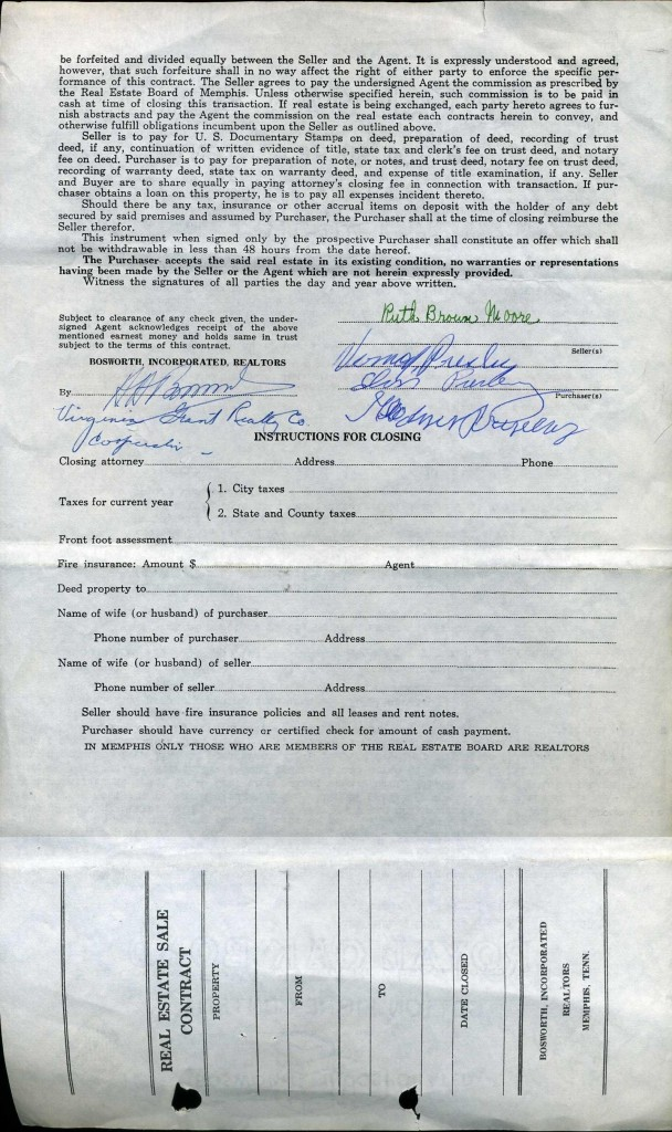 The second page of the Graceland purchase contract, with signatures by Elvis Presley and his parents.