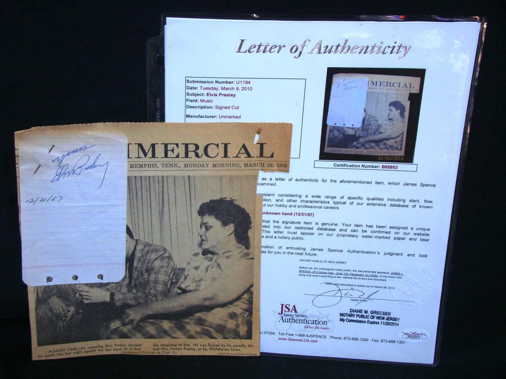 Slip of paper signed by Elvis Presley and clipped to a Memphis newspaper, with letter of authenticity will be among the rock 'n' roll memorabilia available in a three-day sale facilitated by Philip Weiss Auctions on April 23-25, 2010.