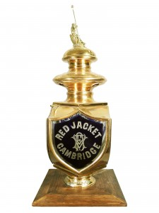 This ornate firemen's hand pumper brass lantern, circa 1890, with embossed lettering, gaveled for $30,800.