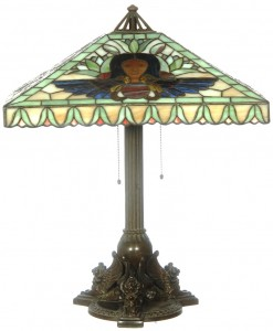 A 25-inch marked Handel leaded and reverse painted Egyptian design lamp with large 20-inch shade.
