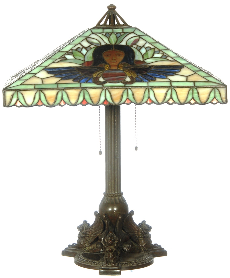 This 25-inch marked Handel lamp with Egyptian design was the top-selling item in the single-owner lifetime collection of Dale Gabel, held Apr. 9-10, 2010, at the St. Charles Convention Center in St. Charles, Mo., gaveling down for $16,000.