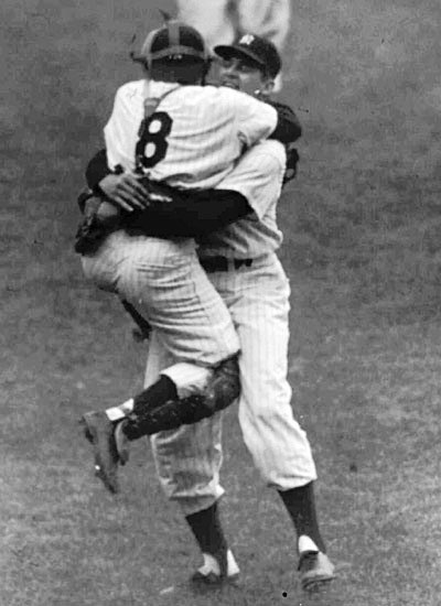 "In this now-classic photo, an ecstatic Yogi Berra jumps onto teammate Don Larsen, who had just delivered the final pitch of a perfect game in the 1956 World Series. The uniform Berra wore in this game went ""undercover"" for more than half a century but now will be offered by Grey Flannel in their Summer Games Auction closing April 14, 2010. Copyrighted image licensed for use through Getty Images.In this now-classic photo, an ecstatic Yogi Berra jumps onto teammate Don Larsen, who had just delivered the final pitch of a perfect game in the 1956 World Series. The uniform Berra wore in this game went ""undercover"" for more than half a century but now will be offered by Grey Flannel in their Summer Games Auction closing April 14, 2010. Copyrighted image licensed for use through Getty Images."
