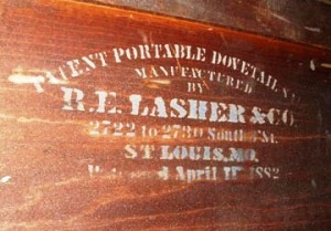 This unusual label was found on the inside of a cabinet. It is not the label of the manufacturer but the label of the maker of the machinery that made the drawer joinery in the cabinet.