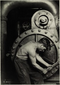 "Lewis W. Hine's iconic ""Mechanic at steam pump in electric power house"" is expected to bring $70,000 to $90,000."