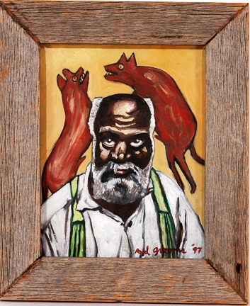 "Oil on board work by Red Grooms, titled ""Bill Traylor and Fighting Dogs"" (est. $5,000-$7,000)."