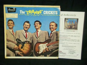 Record album of Buddy Holly & The Crickets, signed by Holly and the other members of the group.