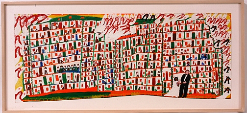 "This mixed media work by Sister Gertrude Morgan, ""The Great Now Jerusalem"" will sell for an estimated $30,000-$40,000."
