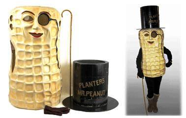 The Mr. Peanut character was invented by a Virginia schoolboy who submitted a drawing to a 1916 competition sponsored by the Planters Nuts Company. This authentic Mr. Peanut costume representing the enduring American icon was worn on the Atlantic City Boardwalk in the 1950s.