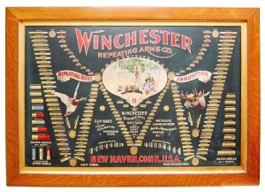 "This rare 1902 Winchester lithographed double ""W"" cartridge board, without cartridges sold for $6,526."