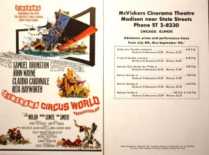 "Circus World"" was filmed in Cinerama. This image shows both sides of a flyer that advertised the film showings at the McVickers Cinerama Theatre in Chicago."
