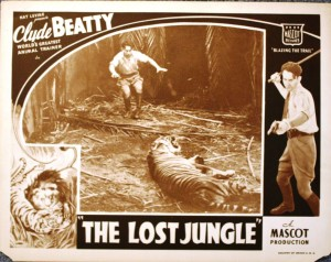 "This lobby card, advertising ""The Lost Jungle,"" is valued at $25-$35."