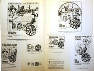 "This is the inside center section of the theatre press kit for ""Rings Around the World."" These kits had advertisements in various sizes and ordering instructions for posters and other promotional items. Value is about $20."