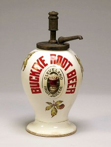 Another of those countertop display items is this ironstone Buckeye Root Beer display, circa 1890-1910.