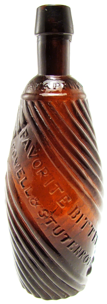 "The expected top lot of American Bottle Auctions' Internet and catalog online sale, to be held from May 24 to June 1, 2010, is this ""Favorite Bitters"" Powell & Stutenroth bottle, 9.7. the bottle has a minimum bid of $10,000."