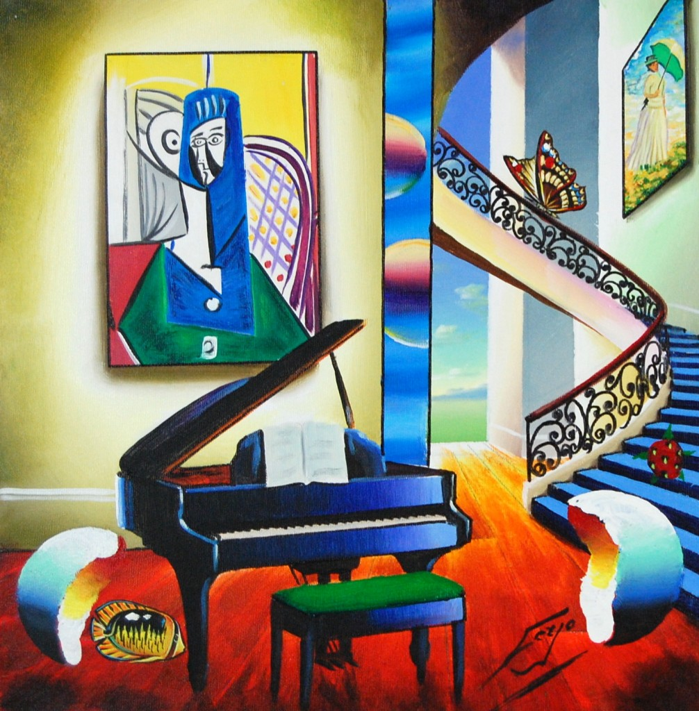 """Original oil on canvas by the artist known simply as Ferjo, titled """"Picasso's Unwritten Melody,"""" is among the pieces of fine and contemporary art that will be sold by Baterbys Art Auction Gallery in a live and Internet auctionon May 29, 2010."""
