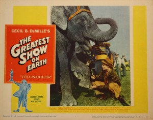 "Lobby cards are popular movie collectibles. They generally come in sets of eight. This card for ""The Greatest Show On Earth"" is valued at $15 to $20."