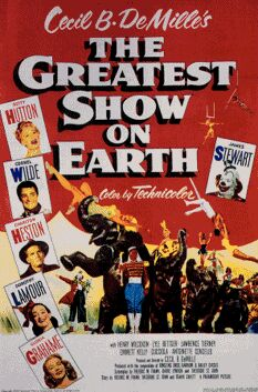 "The Greatest Show On Earth"" one-sheet movie poster is valued at $200-$300, although they can sometimes be found for less. Re-release posters sell for about $50 or less and can be identified because Jimmy Stewart in his clown costume is holding an Oscar."