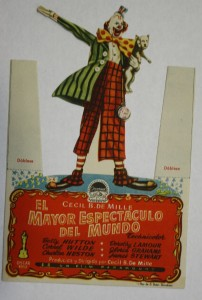 "The Greatest Show On Earth"" was released around the world. This small die-cut counter card was made for the Ideal Cinema, a Mexican motion picture theater. Value under $10."
