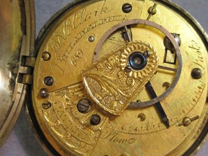"The inside of the watch, marked ""B&E Clark"" and ""Philadelphia."""