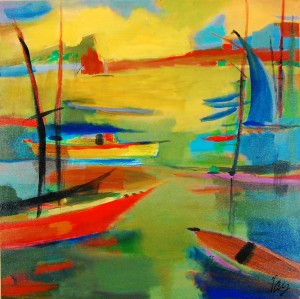 "Original acrylic on canvas painting by Jackie Holland Berkley, titled ""Portside #15"" (circa 2005)."