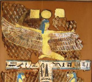 Egyptian mummy shroud from Dynasty 26 (circa 600 B.C.), cartonnage and linen ($6,420).