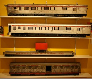 These model railroad cars were used to depict a spectacular train wreck near the end of the motion picture.