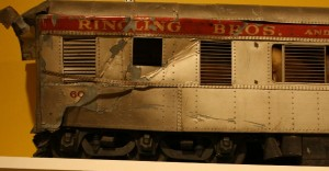 These model railroad cars which are displayed at the Ringling Circus Museum in Sarasota, Florida.