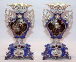 This beautiful pair of blue and gold Old Paris vases (circa 1860) standing 20 inches tall sold for $1,344 each.