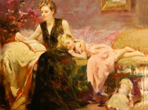 """Hand-embellished giclee on canvas by Pino (Giuseppe Dangelico), titled """"Precious Moments."""""""