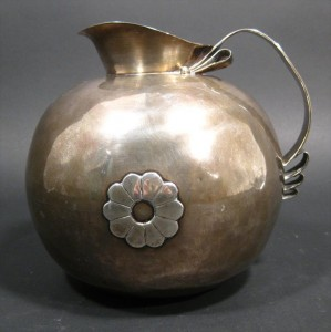Spratling Mexican sterling silver water pitcher, bulbous form, circa mid-20th century ($4,357).