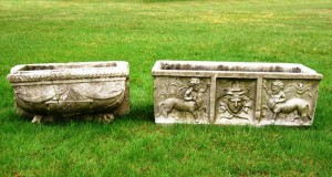 Pair of 18th- or 19th-century carved stone outdoor planters ($16,800).